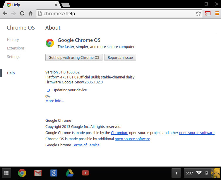 Updating the OS of a Chromebook or Chromebox